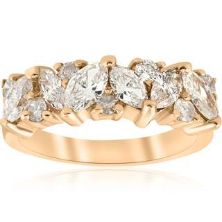 14k Yellow Gold 1 2 Ct TDW Marquise Diamond Wedding Anniversary Ring H I