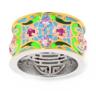 Michael Valitutti Palladium Silver Asia Multi Pink Sapphire & Enamel Eternity Band Ring