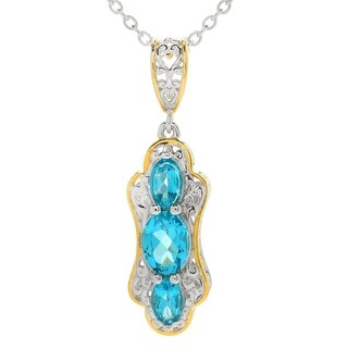 Michael Valitutti Palladium Silver Paraiba Color Topaz Three-Stone Pendant