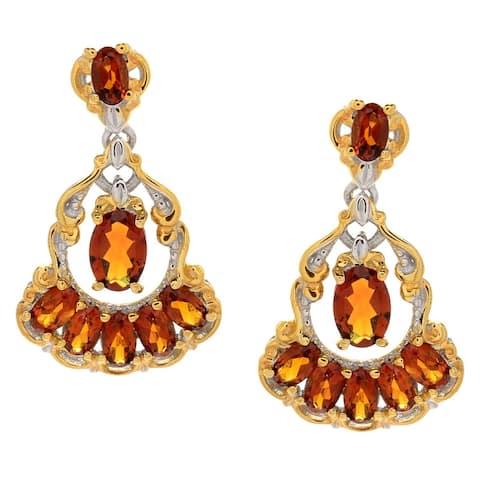 Gems en Vogue Palladium Silver Oval Madeira Citrine Dangle Earrings