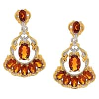 Michael Valitutti Palladium Silver Oval Madeira Citrine Dangle Earrings