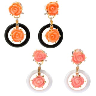 Michael Valitutti Palladium Silver Italy Carved Salmon Bamboo Coral Flower & Onyx Dangle Earrings