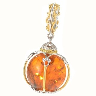 Michael Valitutti Palladium Silver Amber Caged Bead Drop Charm