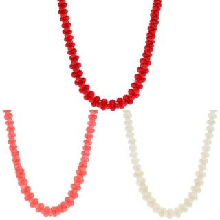 "Michael Valitutti Palladium Silver 20"" Bamboo Coral Interlocking Bead Necklace"