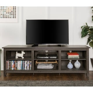 Clay Alder Home Toston 70 Inch Wood Media TV Stand   Charcoal