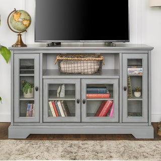 "52"" Wood Highboy TV Media Stand Storage Console - Antique Grey"