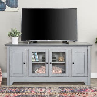 52 inch Wood TV Media Stand Storage Console Stands Living Room Furniture For Less  Overstock com