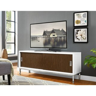 "60"" Manhattan Wood TV Console with Full Sliding Doors - White/Walnut"