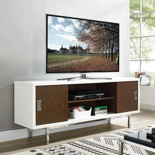 """60"""" TV Console with Side Sliding Doors - White/Walnut - 60 x 16 x 24h"""