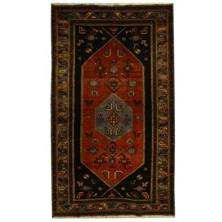 Herat Oriental Persian Hand-knotted Tribal Hamadan Wool Rug (5'1 x 7'3)
