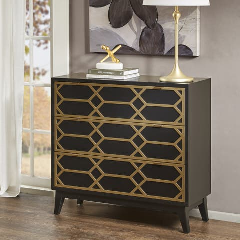 Madison Park Gabrielle Black/ Gold Lattice Accent Chest