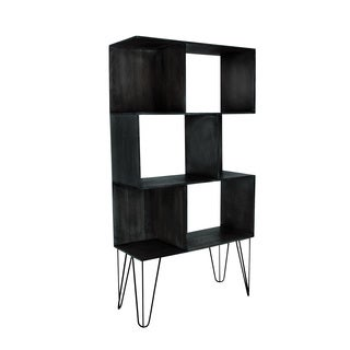 Wood And Metal Black Accent Shelf, Large