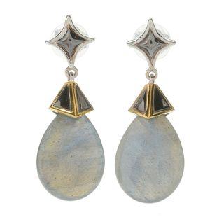 Michael Valitutti Palladium Silver Pear Shaped Labradorite Drop Earrings