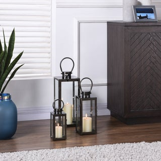 "Danya B. 20"" Set of 3 Nesting Lighthouse Lanterns - Metallic Smoke Black"