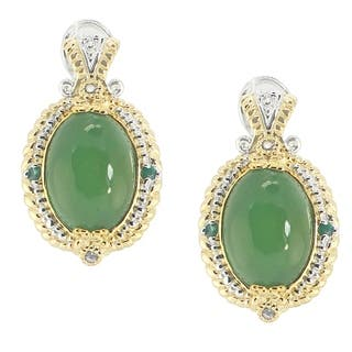 Michael Valitutti Palladium Silver Green Chalcedony, Emerald & White Sapphire Earrings with Omega Backs|https://ak1.ostkcdn.com/images/products/16315364/P22678845.jpg?impolicy=medium