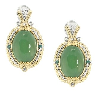 Michael Valitutti Palladium Silver Green Chalcedony, Emerald & White Sapphire Earrings with Omega Backs