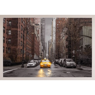 Assaf Frank - New York Taxi Poster in a White Plastic Frame (36x24)