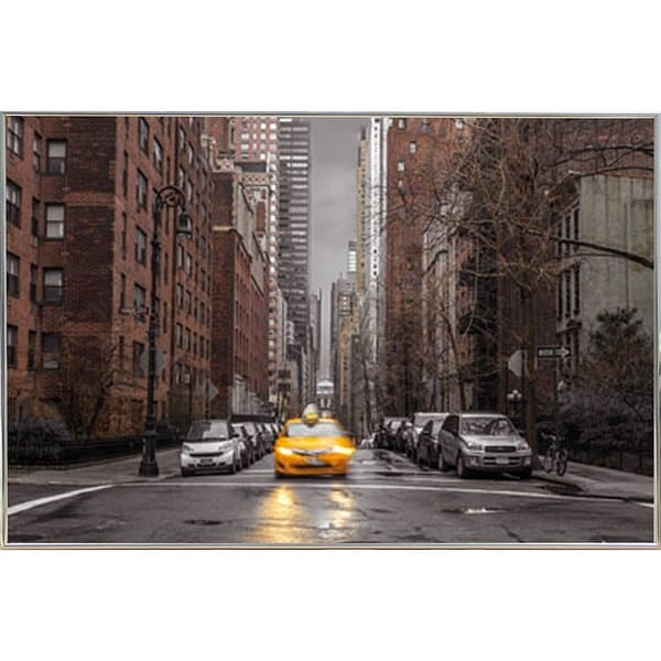 Assaf Frank - New York Taxi Poster in a Silver Metal Frame (36x24)