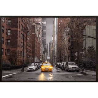 Assaf Frank - New York Taxi Poster in a Walnut Wood Frame (36x24)
