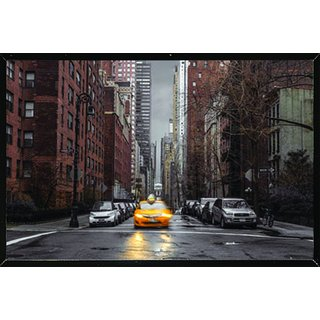 Assaf Frank - New York Taxi Poster in a Black Thin Poster Frame (36x24)