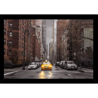 Assaf Frank - New York Taxi Poster in a Black Wood Frame (36x24)