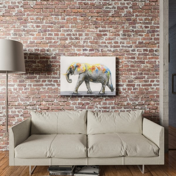 Yosemite Home Decor Dazzling Elephant Original Hand Painted Wall Art   Multi
