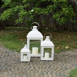 "Danya B. 17"" Set of 3 Nesting Lanterns Antique White"