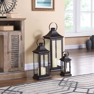 "Danya B. 29"" Set of 3 Nesting Lanterns - Brown with Copper Patina"