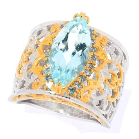 Michael Valitutti Palladium Silver Marquise Aquamarine & Swiss Blue Topaz Wide Band Ring