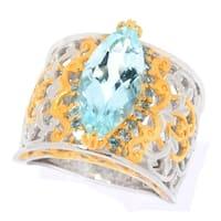 Michael Valitutti Palladium Silver Aquamarine & Swiss Blue Topaz Wide Band Ring