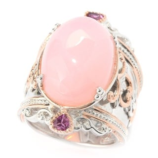Michael Valitutti Palladium Silver Pink Peruvian Opal & Rhodolite Garnet Wide Band Ring