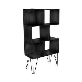 Black Wood And Metal Accent Shelf