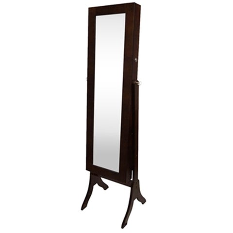 Brown Tall Full-length Mirror Jewelry Stand