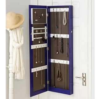 Purple Full-length Hanging Mirror with Jewelry Cabinet