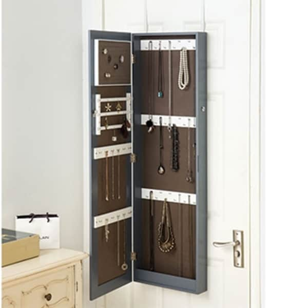 Gray Full-length Hanging Mirror With Jewelry Cabinet
