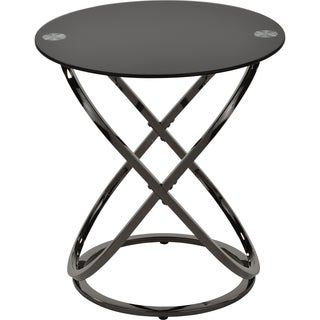Carlyn-Black Glass/Metal Accent Table