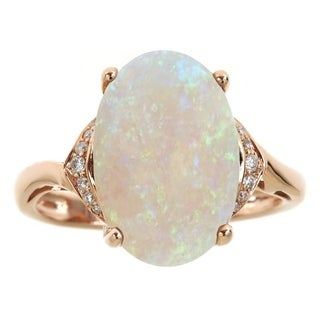 14K Rose Gold Australian Opal and Diamond Ring by Anika and August