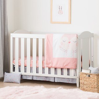 South Shore Angel Crib with Toddler Rail and Doudou the rabbit 4-Piece Bed Set
