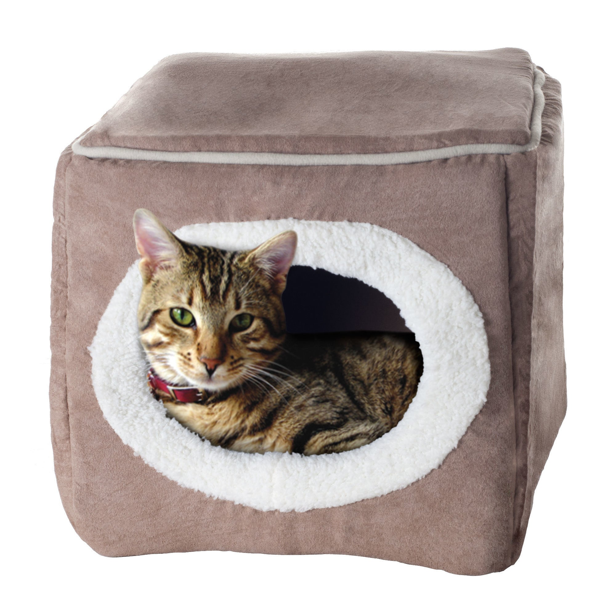 Petmaker Cozy Cave Enclosed Cube Pet Bed (Tan/White Anima...