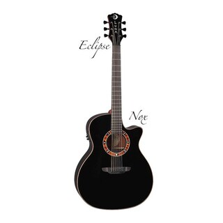 Luna Guitars Fauna Eclipse Nox Cutaway Acoustic/Electric Guitar, Ebony Fingerboard - Translucent Black