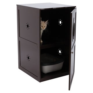 Brown Wooden 2-Story Cat House/ Litter Box