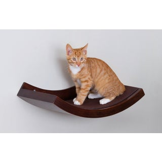 Brown Wall Mounted Cat Shelf