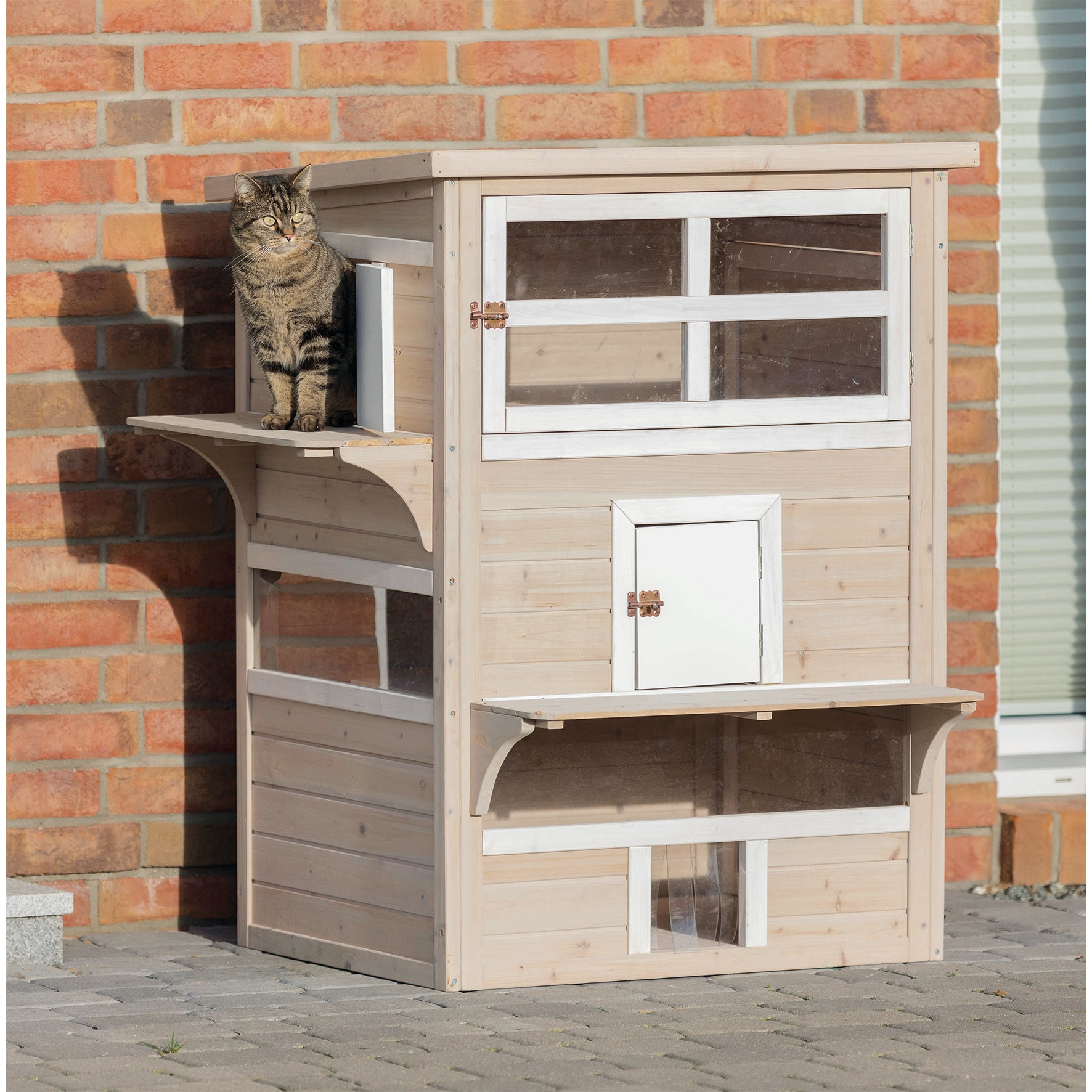 Trixie XXL 3-story Wooden Outdoor Cat House (Grey/White)
