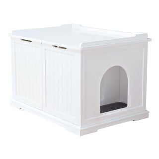 White Wooden Extra-Large Cat House and Litter Box