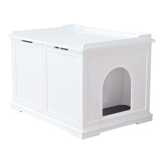 TRIXIE Pet Products White Wooden Extra-large Cat House and Litter Box