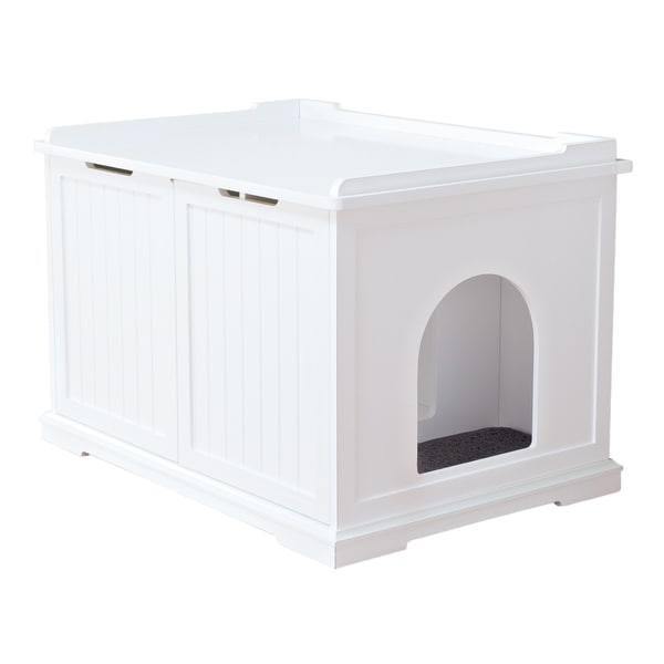 TRIXIE Pet Products White Wooden Extralarge Cat House and Litter