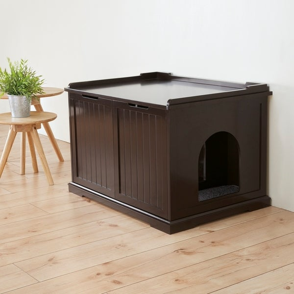 Brown Wooden Extralarge Cat House and Litter Box Free Shipping