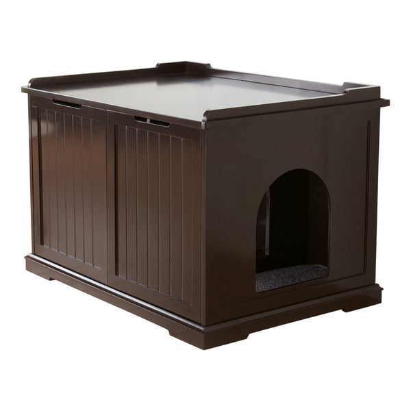 Brown Wooden Extra Large Cat House And Litter Box Free