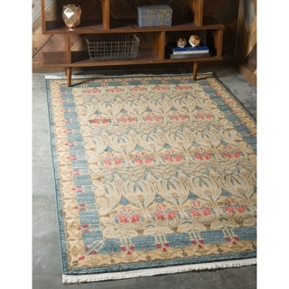 Turkish Kensington Heritage Navy Blue/Tan Floral Area Rug (9' x 12')