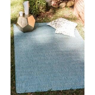 Aquamarine/Tan Outdoor Solid Area Rug (9' x 12')